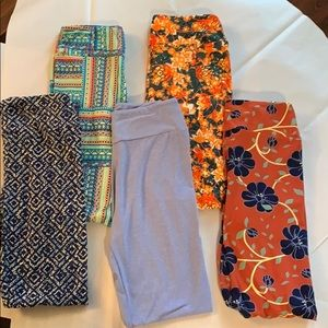LuLaRoe Leggings Bundle of 5 Pictured One Size